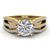 Magnificent Solitaire Round Diamond Trio Split Shank Engagement Ring 1.40 ctw 18K Gold (G,SI) - Yellow Gold
