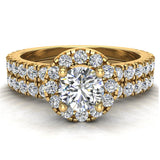 Petite Wedding rings for women Halo Round Brilliant Cut bridal set 18K Gold 1.50 carat (G, VS) - Yellow Gold