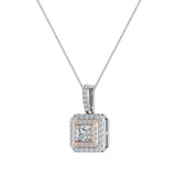 Princess Cut Diamond Cut Cornered Double Halo 2 tone Necklace 14K Gold (G,I1) - Rose Gold