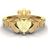 Genuine Heart Yellow Citrine Claddagh Diamond Ring 0.62 Carat Total Weight 14K Gold - Yellow Gold