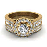 Round Cut Wedding Ring Set for Women 14K Gold Halo Bridal Rings Set Wide Shank 1.42 Ctw (I, I1) - Yellow Gold