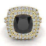 Black Diamond Cushion Cut Double Halo Diamond engagement rings for women 18K Gold 3.00 ctw (G,VS) - Yellow Gold
