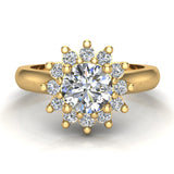 Classic Floral Halo Diamond Engagement Rings Round brilliant diamond ring 14K Gold 1.30 carat (H,SI) - Yellow Gold