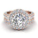 Moissanite Wedding Ring Set 14K Gold Halo Rings for women 7.40 mm 5.15 carat (I,I1) - Rose Gold