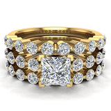 Princess Cut 2.07 Carat Shared-Prong setting Band Wedding Bridal Ring Set 18K Gold (G,VS) - Yellow Gold