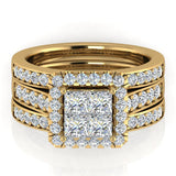 Princess Cut Quad Halo Wedding Ring Set w/ Enhancer Bands Bridal 14K Gold (I,I1) - Yellow Gold