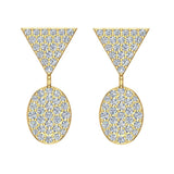 Diamond Dangle Earrings Oval Pattern Cluster Triangle Top 14K Gold 0.90 ctw (I,I1) - Yellow Gold