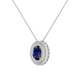 Oval Cut Blue Sapphire Double Halo 2 tone necklace 14K Gold (G,SI) - Rose Gold