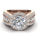 Moissanite Engagement Rings 14K Gold Real Diamond accented Ring Channel Set 4.84 carat tw (I,I1) - Rose Gold