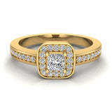 Princess Cut Diamond Ring Promise Style Petite Cushion Halo 14K Gold 0.39 ctw (I,I1) - Yellow Gold