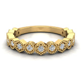 Stacking Circle & Hexagons Milgrain Diamond Wedding Band 0.34 ctw 14K Solid Gold (G,I1) - Yellow Gold