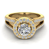 Exquisite Round Diamond Halo Split Shank Engagement Ring 1.35 ctw 18K Gold (G,SI) - Yellow Gold