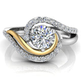 Ocean Wave Two-tone Promise Diamond Ring 14K Gold 0.75 Ctw (G,I1) - Yellow Gold