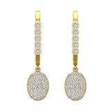 Oval Diamond Dangle Earrings Dainty Drop Style 14K Gold 0.70 ctw (I,I1) - Yellow Gold