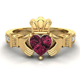 Genuine Heart Red Garnet Claddagh Diamond Ring 0.62 Carat Total Weight 14K Gold - Yellow Gold