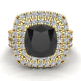 Black Diamond Cushion Cut Double Halo Diamond wedding rings for women 18K Gold 3.80 ctw (G,VS) - Yellow Gold