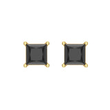Princess Cut Black Diamond Earrings 14K Gold Studs Natural Diamonds (Black,AAA) - Yellow Gold