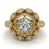 0.92 Carat Vintage Style Filigree Engagement Ring 18K Gold  (G,SI) - Yellow Gold