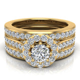 Exquisite 8 prong setting Round Cut Halo Wedding Ring Set w/ Enhancer Bands 18K Gold (G,VS) - Yellow Gold