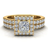 Petite Wedding rings for women Princess Cut halo bridal set 18K Gold 1.55 carat (G, SI) - Yellow Gold