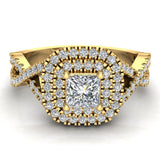 Twists Square Halo Princess Cut Engagement Ring 14K Gold 0.90 Ctw Diamonds (G,SI) - Yellow Gold