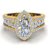 Elegant Marquise Brilliant Halo Diamond Engagement Ring 1.80 ctw 18K Gold (G,SI) - Yellow Gold