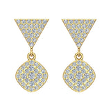 Cushion Diamond Dangle Earrings 14K Gold 0.80 ctw (I,I1) - Yellow Gold