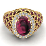 Cabochon Garnet & Diamond Cocktail Ring Halo Style Dome Shape Fashion Ring 2.93 Carat Total Weight 18K Gold - Yellow Gold
