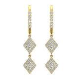 Kite Diamond Dangle Earrings Dainty Drop Style 14K Gold 1.14 ctw (I,I1) - Yellow Gold