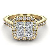 Princess Cushion Halo Diamond Engagement Ring 1.38 ctw 14K Gold (G,I1) - Yellow Gold