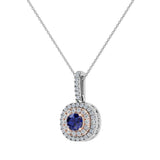 Round Cut Blue Sapphire Cushion Double Halo 2 tone necklace 14K Gold (I,I1) - Rose Gold