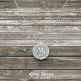 Round Diamond Halo Pendant Bezel Setting 14K Gold (G,I1) - White Gold