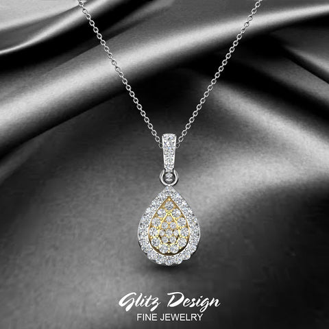 Tear Drop Diamond Necklace 2 Tone 14K Gold (G,I1) - Yellow Gold