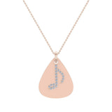 Signature Guitar Pick 18K Gold Necklace with Diamond Musical Note Highlights 0.10 ctw (G,SI) - Rose Gold
