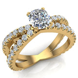 X Cross Split Shank Large Cushion Shape Diamond Engagement Ring 1.75 carat Total 18K Gold - Yellow Gold