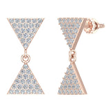 Diamond Dangle Earrings Triangle Pattern Cluster Hour-glass Look 14K Gold 0.63 ctw (G,SI) - Rose Gold