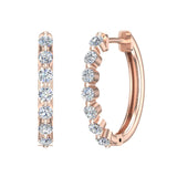 Oval Shaped Diamond Huggies Style Hoop Earrings Secure Click-in Lock Setting 14K Gold (I,I1) - Rose Gold