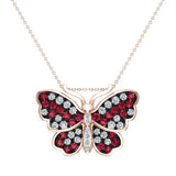 Butterfly Necklace Diamonds & Ruby 18K Gold Chain 0.78 ctw (G,SI) - Rose Gold