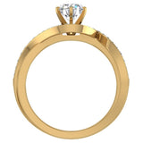 1.00 carat Intertwined Diamond Engagement Ring Twisted Shank 14K Gold Setting (G,VS) - Yellow Gold