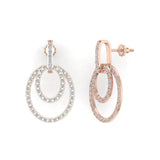 Intertwined Circles Loop Diamond Chandelier Earrings 14K Gold 1.53 ctw(I,I1) - Rose Gold