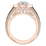 Large Moissanite Engagement Ring Real Accented Diamond Ring 14K Gold 8.00 mm 3.50 carat tw (I,I1) - Rose Gold