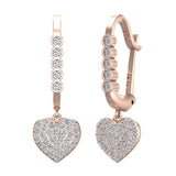 Heart Diamond Dangle Earrings Dainty Drop Style 14K Gold 0.75 ctw (I,I1) - Rose Gold
