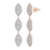 Marquise Diamond Chandelier Earrings Waterfall Style 14K Gold (G,SI) - Rose Gold