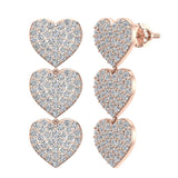 Heart Diamond Chandelier Earrings Waterfall Style 14K Gold (I,I1) - Rose Gold