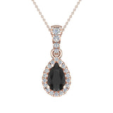 Pear Cut Black Diamond Halo Diamond Necklace 14K Gold (G,SI) - Rose Gold