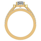 Stunning Princess Cushion Halo Diamond Wedding Ring Set 1.56 ctw 14K Gold (G,I1) - Yellow Gold