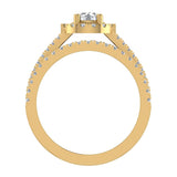 Round Cut Wedding Ring Set for Women 14K Gold Halo Bridal Rings Set Wide Shank 1.42 Ctw (G, I1) - Yellow Gold