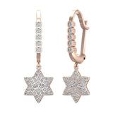 Star of David Diamond Dangle Earrings Dainty Drop Style 14K Gold 0.83 ctw (G,SI) - Rose Gold