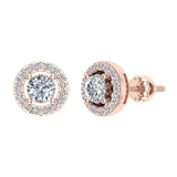 Exquisite Classic Diamond Halo Stud Earrings 14K Gold 4.00 mm Center (I,I1) - Rose Gold