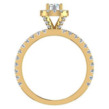 Petite Engagement rings for women Halo Round Brilliant Cut diamond ring 18K Gold 1.05 carat (G,SI) - Yellow Gold
